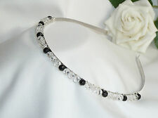 Handmade Brides Bridesmaid Prom - Black & Clear Crystal Glass - Tiara headband