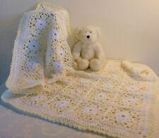 Newborn Baby Cover Blanket Lemon White Sparkle Handmade Delicate Lacy Crochet