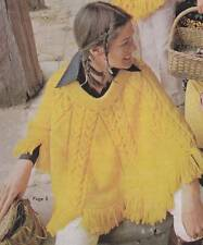 KNITTED PONCHO / Jet or 12ply - COPY Ladies knitting pattern