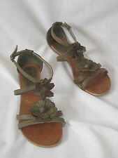 Spot On Khaki Green Flat Strappy Sandals size 4 37 Flower Detail