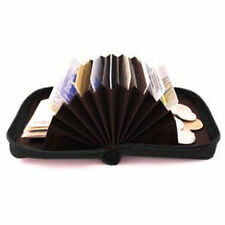 Accordion Soft Leather Credit Business Card Fan Open Lady Zip Wallet Holder New