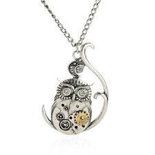 Punk Retro Silver Steampunk Jewelry Owl Machinery Gear Pendant Necklace Chain