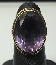 Large Chunky 14K Gold Oval Cut Purple Amethyst Statement Cocktail Ring