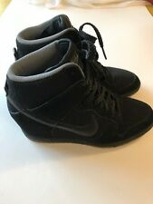 Womens Nike Dunk Sky Hi Essential Wedge Shoes Size 8 Black