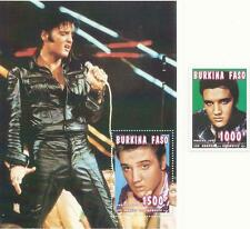 ELVIS PRESLEY - Burkina Stamp Sheet containing 1 stamp + additional loose stamp