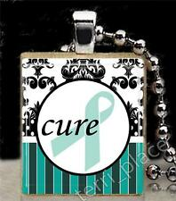 Teal Ribbon Cure Scrabble Tile Pendant Ovarian Cancer Support S3