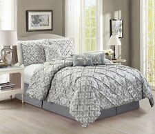 7-Piece Gray White Printed Medallion Pintuck Pleated Comforter Set, Cal King