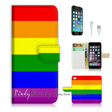 "iPhone 6 (4.7"") Print Flip Wallet Case Cover! Gay Pride Rainbow Pattern P0072"