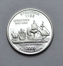 2000-S 25C VIRGINIA SILVER DEEP CAMEO QUARTER DOLLAR PROOF, 90% SILVER, UNC, 25c