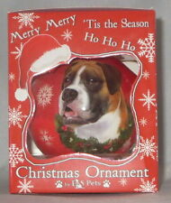 Boxer Christmas Ornament Shatter Proof Ball Dog Snowflake Wreath Red New
