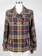 Tommy Hilfiger Womens Sz Large Brown Blue Plaid Double Breast Trench Jacket Coat