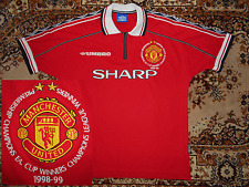 Manchester United 1998/00 Umbro M Treble WINNERS Sharp Home 6 shirt jersey 99
