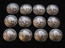 (12) BUFFALO NICKEL CONCHO /  BUTTONS / (tails)