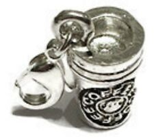 LOVELY SILVER TALL COFFEE MUG 3D  CLIP ON  CHARM FOR BRACELETS  - SILVER ALLOY