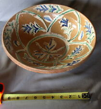 Rare Early Redware slip decorated Bowl caramel glaze 19th c terracotta pottery