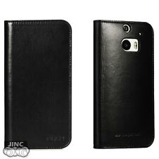 Genuine Cow Leather Book Case Cover Pouch for HTC ONE-M8 (The New HTC ONE)