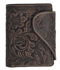 Damen Geldbörse Portemonnaie ölgeprägtes Vollrindleder Jockey Club floral neu