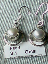 STERLING SILVER 15mm. DROP EARRINGS with ROUND FRESHWATER PEARLS  £10.50  NWT
