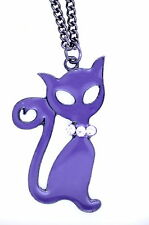Very cool purple enamel cat with crystal necklace