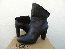 UGG DANDYLION TRES BLACK LEATHER HIGH HEEL ANKLE BOOTS, US 10/ EUR 41 ~NIB