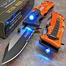 TAC-FORCE Orange EMT Spring Assisted Open LED Tactical Rescue Pocket Knife NEW!!