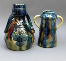 2 Antique Belgian Art Pottery ~ 2 Handled Vases ~ Art Nouveau Majolica / Belgium