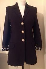 Vintage Moschino Black Riding Jacket With Striped Lining. Size 8