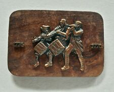UNITED STATES USA BICENTENNIAL FIFE AND DRUM BAND WOOD DESIGN BELT BUCKLE