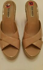Steve Madden Shoes 10 Wedge Tan Nude Beige Peep-Toe Platform Shoes Heels