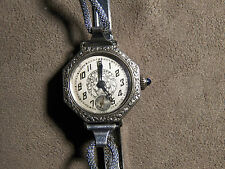 ANTIQUE ESTATE HAFIS STEEL CLAD GOLD FILLED WATCH 5 JEWEL SWISS BEARINGS