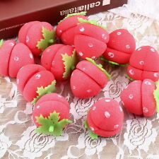 12xStrawberry Balls Hair Care Soft Sponge Rollers Curlers Lovely DIY Tool UL