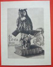 "Exlibris, Bookplate ""Ottonis Hirtreitheri"" Tod, Eule, Wappen"
