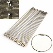10 Pcs Stainless Steel EDC Aircraft Cable Wire Key Chain Ring Twist Screw Lock
