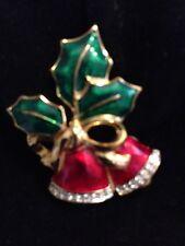 Swarovski Christmas Bells & Holly Pin Brooch Signed - LOVELY! - New