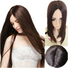 Womens Full Long Straight Hair Wig Cosplay Party Wigs Heat Resistant Dark Brown