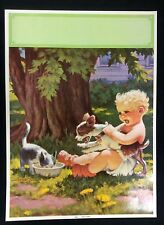 """""""CHILDREN SERIES""""  CA & DOG BY SRLLORT LITHO 12"""" by16""""1940s #C45"""