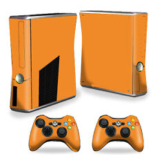 Skin Decal Wrap Cover for Xbox 360 S Slim + 2 controllers Solid Orange
