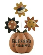 Blossom Bucket Thanksgiving/Fall Figure-Blessed & Thankful Pumpkin w/Sunflowers