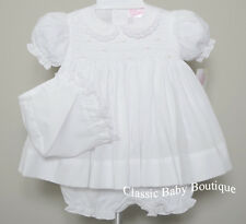 NWT Petit Ami White Smocked Lace 3PC Dress Newborn NB Reborn Baby Girls Bonnet