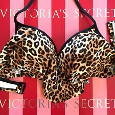 VICTORIAS SECRET PINK Swim Push-Up Flounce Bikini Top Medium M D DD Animal 984