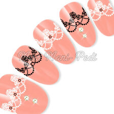 Nail Art Water Decals Transfers Sticker Black & White Rose Lace Chandelier Y193A