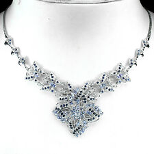 FASCINATING NATURAL BLUE VIOLET TANZANITE-SAPPHIRE STERLING 925 SILVER NECKLACE