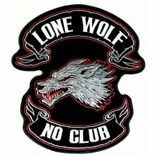 Lone Wolf No Club DELUXE BIKER PATCH Iron-On Embroidered Large Patch