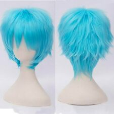 Short Synthetic Full Hair Wig Costume Cosplay Party Fancy Dress Light Blue Wigs