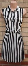 PRIMARK WHITE BLACK STRIPE NAUTICAL CHIFFON SKATER A LINE VTG TEA DRESS 14 L