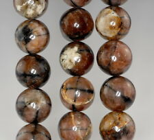 14MM CROSS CHIASTOLITE GEMSTONE  GRADE AB BROWN ROUND LOOSE BEADS 7.5""