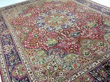 10 x 12.6 Persian Tabriz Oriental Area Rug Hand Knotted Red Blue Wool Carpet