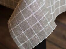Tischdecke aus Leinen 140x180 cm Leinentischdecken Beige Karo