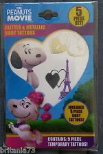 !! Snoopy / Peanuts - 5 tlg. Glitter u. Metallic Body Tatoo Set / Neu & OVP !!