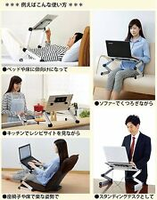 New! Lying Down Laptop PC Tablet Portable Stand 15.6 Type Silver w/Cool Fan